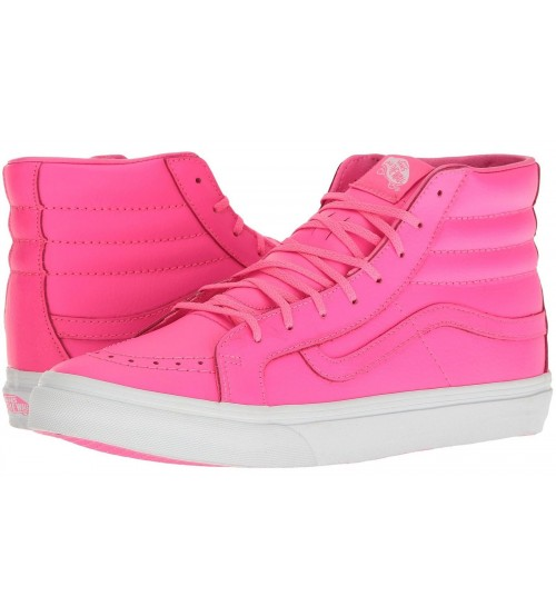 Vans SK8 Hi Slim Neon White Womens Leather Skate Trainers
