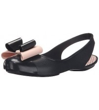Zaxy Gift Bow Black Nude Womens Sling Back Flats Shoes-3