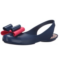 Zaxy Gift Bow Navy Pink Womens Sling Back Flats Shoes-3