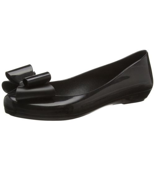 Zaxy Pop Bow 2 Black Womens Ballerinas Flats Shoes