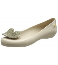 Zaxy Pop Heart Luxe Nude Womens Ballerinas Flats Shoes
