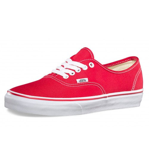 Vans Authentic Red White Canvas Unisex Skate Trainers Shoes