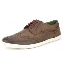 Base London Perform Brown Leather Mens Brogue Casual Shoes
