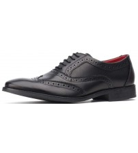 Base London Bramble Black Waxy Leather Mens Brogues Formal Shoes