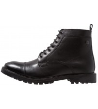 Base London Brigade Black Mens Mid Ankle Leather Hi Boots