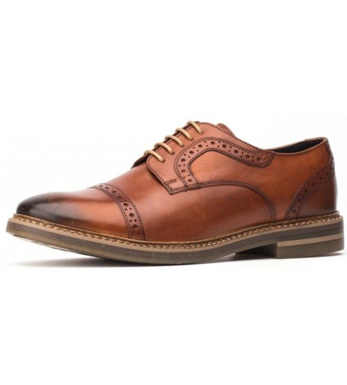 Base London Butler Washed Tan Leather Mens Brogues Formal Shoes