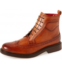 Base London Manby Tan Mens Mid Ankle Leather Hi Boots
