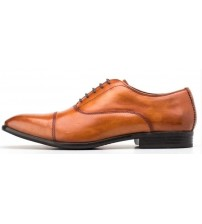 Base London Richards Tan Washed Leather Mens Formal Shoes