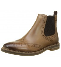 Base London Riley Tan Mens Mid Ankle Leather Chelsea Boots