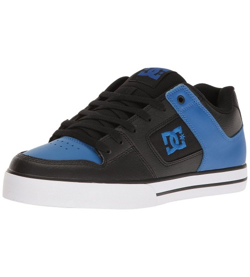 DC Pure Black Blue Leather Mens Skate Trainers Shoes