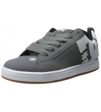 DC Court Graffik Grey White Leather Men Skate Trainers