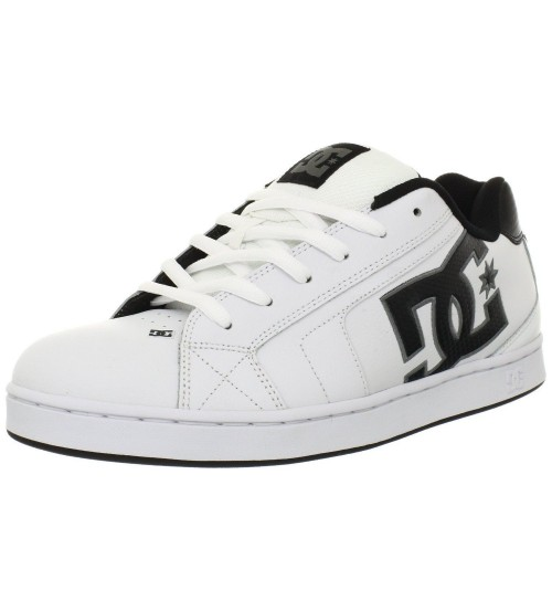 DC Net White Black Grey Leather Mens Skate Trainers Shoes