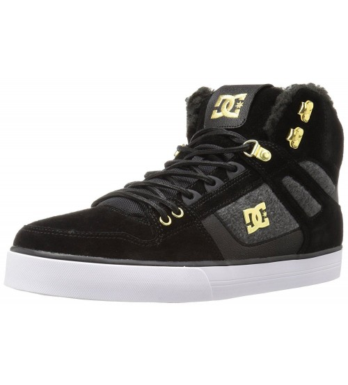 DC Spartan Hi WC Black Grey Suede Mens Skate Trainers