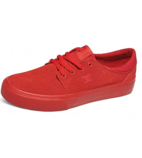 DC Trase SE Red Suede Mens Skate Trainers Shoes