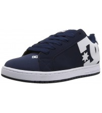 DC Court Graffik Navy White Mens Leather Skate Trainers