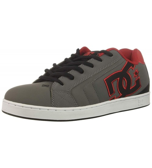 9a0ea26dee DC Net Grey Red Black Mens Leather Skate Trainers