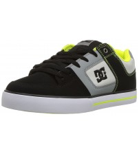 DC Pure Black Grey Lime Mens Leather Skate Trainers