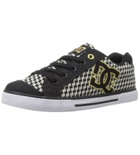 DC Chelsea TX SE Black Gold Fabric Womens Skate Trainers