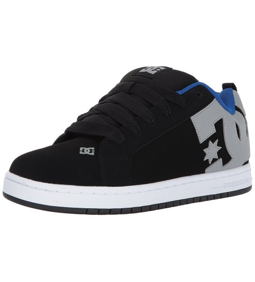 DC Court Graffik Black Grey Blue Mens Leather Skate Trainers
