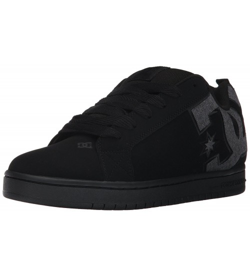DC Court Graffik SE Black Grey Mens Leather Skate Trainers