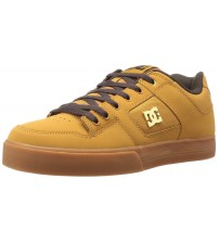 DC Pure SE Tan Brown Leather Mens Skate Trainers Shoes