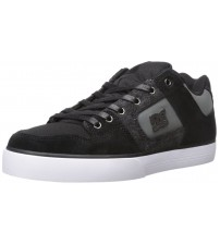 DC Pure SE Black Grey White Leather Mens Skate Trainers Shoes