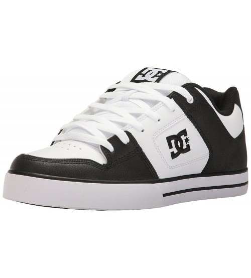 DC Pure Black White Mens Leather Skate Trainers Shoes