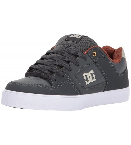 DC Pure Grey White Mens Leather Skate Trainers