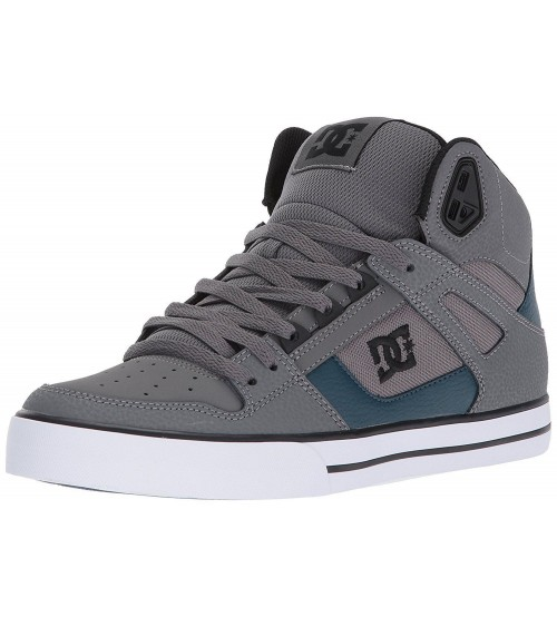 DC Spartan Hi WC Grey White Leather Mens Skate Trainers
