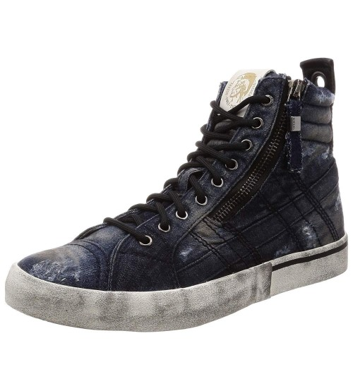 Diesel D Velows Mid Lace Denim White Mens Hi Trainers
