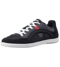 Diesel Eastcop Starch Black White Red Mens Leather Trainers Shoes