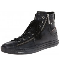 Diesel Expo Zip Black Mens Leather Hi Trainers Boots