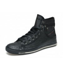 Diesel Exposure I Black Mens Waxed Canvas Hi Trainers Boots