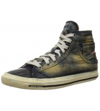 Diesel Exposure I Indigo Black Denim Mens Hi Trainers Shoes