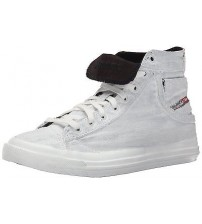 Diesel Exposure I White Black Canvas Men Hi Trainers