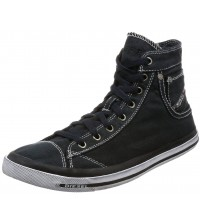 Diesel Exposure I Black White Mens Hi Trainers Boots