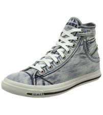 Diesel Exposure I L. Denim White Mens Hi Trainers Boots