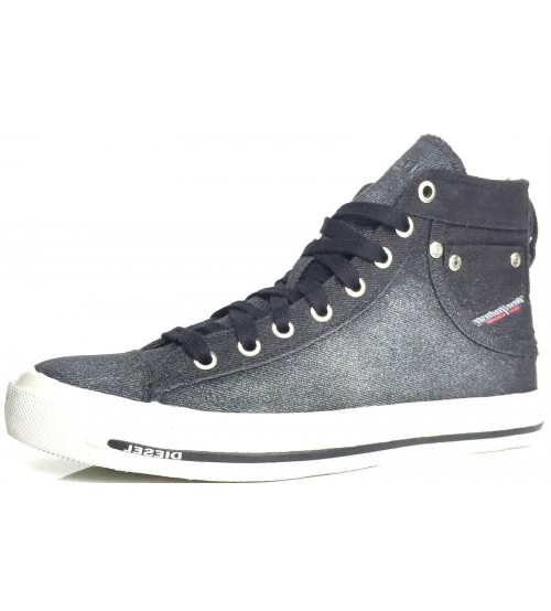 Diesel Exposure IV W Black Glitter Womens Canvas Trainers Boots