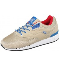 Djinns Rough Run Khaki Blue Red Suede Men Trainers