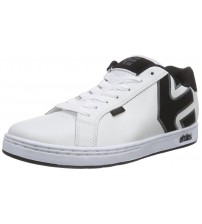 Etnies Fader White Grey Black Men Leather Skate Trainers