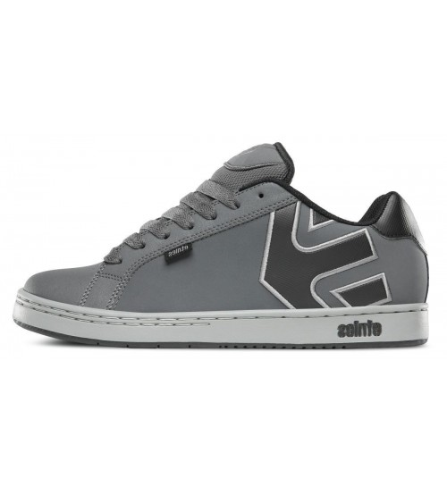Etnies Fader Grey Black Mens Leather Skate Trainers Shoes Boots