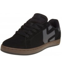 etnies Fader LS Black Grey Gum Leather Mens Skate Trainers