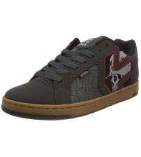 Etnies Metal Mulisha Fader 2 Grey Red Mens Leather Trainers