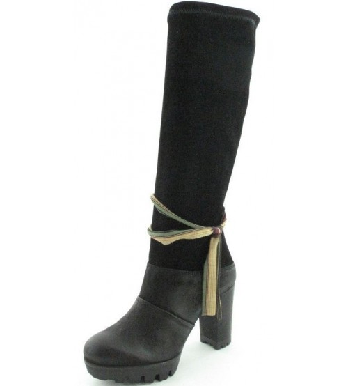 Felmini 9060 Black Suede Leather Womens Block Heel Hi Boots
