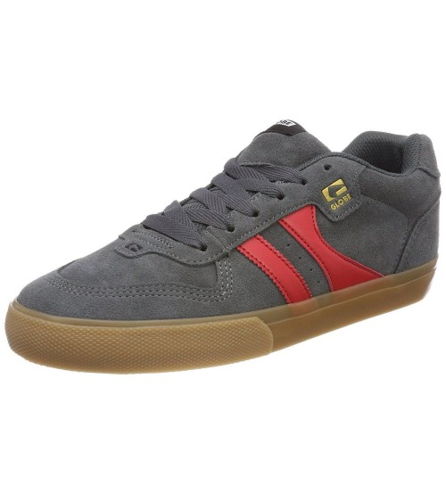 Globe Encore 2 Charcoal Red Gum Suede Mens Skate Trainers Shoes Boots