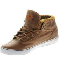 Globe Motley Mid Brown White Fur Leather Men Skate Trainers