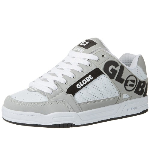 Globe Tilt White Grey Black Leather Mens Skate Trainers Shoes