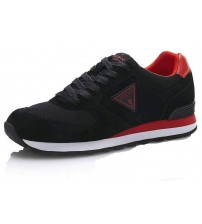 Guess Charlie Black Red Leather Mens Trainers Shoes