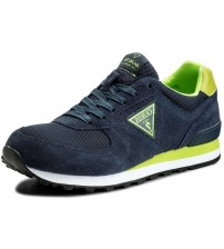 Guess Charlie Navy Lime Suede Mens Trainers Shoes