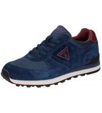 Guess Charlie Navy Red Suede Mens Trainers Shoes